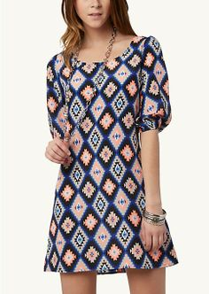 Aztec Zip Back Shift Dress | Got it. Love it.