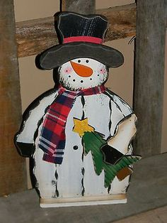 """21"""" Wooden Wood Christmas Snowman Tree Star Figurine Decor Primitive Country"""