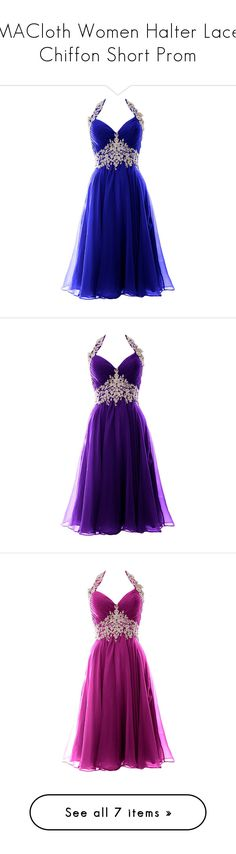 """""""MACloth Women Halter Lace Chiffon Short Prom"""" by qwertyuiop-sparta ❤ liked on Polyvore featuring dresses, gowns, halter prom dresses, formal gowns, lace formal gown, formal evening dresses, lace prom dresses, short formal dresses, formal evening gowns and purple gown"""