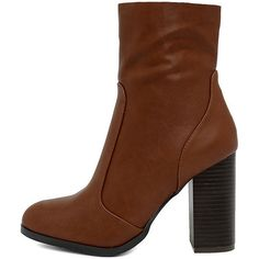 So In Cognac Mid-Calf High Heel Boots (2.545 RUB) ❤ liked on Polyvore featuring shoes, boots, brown, cognac brown boots, calf length boots, brown mid calf boots, zipper boots and bamboo boots