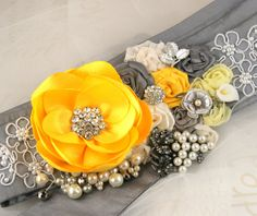 Bridal Sash in Yellow, Grey and Silver with Satin Flowers, Lace, Jewels, Vintage Brooches, Pearls and Crystals $185 (paler shade version also)