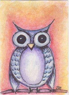 "ACEO Original Art Card ""Owl"" Watercolor Marker by CuriosityCrate6 on Etsy https://www.etsy.com/listing/251703208/aceo-original-art-card-owl-watercolor"