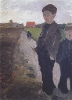 Two boys on Moorkanal - Paula Modersohn-Becker Paula Modersohn Becker, Female Painters, Digital Museum, Garden Painting, Classic Paintings, Oil Portrait, Figure Painting, Painting Inspiration, Vintage Posters