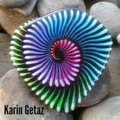 Little rainbow stone. . . . #paintedpebbles #paintedrocks #paintedstones #chakras #textureart #spirals #spirituality #namaste...