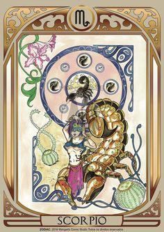 Print art with Scorpio female of ZODIAC project developed by Mangarts Comic Studio. Scorpio Art, Zodiac Horoscope, Scorpio Female, Zodiac Signs Astrology, 12 Zodiac Signs, Major Arcana Cards, My Photo Gallery, Fantasy Characters, Tarot