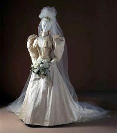 1891 Woman's two-piece wedding dress.