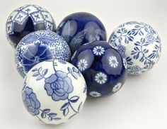 "Porcelain 3"" Blue & White Rosette Balls....remind me of Delft....beautiful"