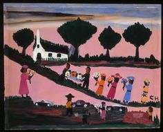 """Funeral, 1950 Clementine Hunter (1886/1887-1988) Melrose Plantation, Natchitoches, LA Oil on board 16 x 20"""" Collection of American Folk Art Museum, New York  Gift of Gleaves Rhodes Photo by Gavin Ashworth 2001.27.2"""