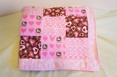John Deere  BABY Quilt 28 x 33 inches Pink   by Sassydoodlebaby, $35.00