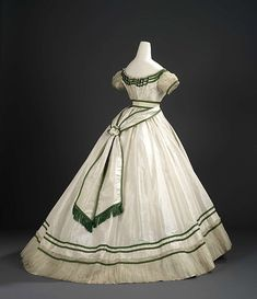 """vintagevision:""""Girl's formal evening dress with sash Charles Frederick Worth - Silk taffeta trimmed with bands of bright green silk satin, white silk lace and sheer silk tabby net 1867 Area of Origin: Paris Patricia Harris Gallery of. 1800s Fashion, 19th Century Fashion, Victorian Fashion, Vintage Fashion, Victorian Dresses, Steampunk Fashion, Gothic Fashion, Victorian Gothic, Victorian Ball Gowns"""