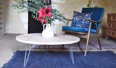 DIY pour fabriquer une table basse ronde en bois brut - Table de salon