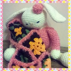 Crochet sleeping bunny.  (pattern copyright Tarturumies)