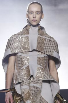 Sculptural Fashion - metallic dress with soft folds; creative fashion design // Rick Owens Fall 2015