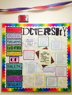 My bulletin board this month over diversity. The background is splattered with melted crayon. College Bulletin Boards, Library Bulletin Boards, Diversity Bulletin Board, Diversity Poster, Ra Themes, 8th Grade History, Crayon Organization, Ra Boards, Resident Assistant