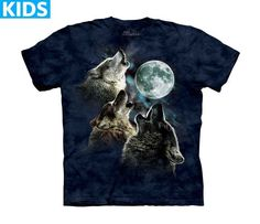 Wolf T-Shirt   Three Wolf Moon in Blue Kids