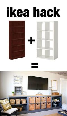 this ikea hack is awesome! She took a bookcase and an old IKEA EXPEDIT (now IKEA KALLAX) and made this long storage unit/tv console. Voor in de woonkamer, Televisie kan er op staan. Ikea Storage, Storage Hacks, Storage Ideas, Wall Storage, Wall Shelves, Tv Storage Unit, Ikea Shelves, Office Storage, Makeup Storage