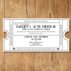 Classic party invite - ticket style - DL sized - editable pdf template. So easy to edit and print at home! By Bumblebee Graphics.