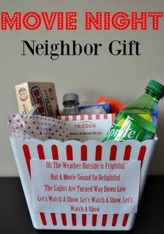 Gift idea for the neighbor of the movie night - Frugal with good taste, . , Gift idea for the neighbor of the movie night - Frugal with good taste, Top 5 Christmas Gifts, Neighbor Christmas Gifts, Neighbor Gifts, Cheap Christmas, Gifts For Neighbors, Handmade Christmas, Christmas Ideas, Christmas Movies, Christmas Projects