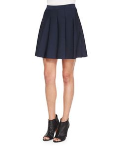 Zoey Pleated A-Line Skirt, Navy by Parker at Neiman Marcus.