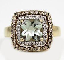 LeVian 14K Yellow Gold Green Amethyst Chocolate Diamond Halo Ring Size 7