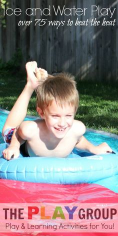 75+ ways to beat the heat this summer with ice and water play.  So many ways to have fun in the sun including art, sensory play, science, games, and much more!  The ultimate list of ideas for ice and water play.