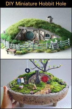 Miniature Hobbit Hole : These DIY miniature hobbit holes will make for an enchanting addition to your fairy garden.DIY Miniature Hobbit Hole : These DIY miniature hobbit holes will make for an enchanting addition to your fairy garden. Mini Fairy Garden, Fairy Garden Houses, Diy Garden, Gnome Garden, Fairy Gardening, Organic Gardening, Fairies Garden, Vegetable Gardening, Hobbit Hole