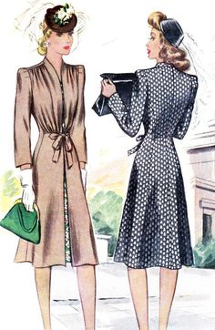 1940s Womens Coat Pattern McCall 4085 Redingote Coat with Shoulder Tucks Waist Tie Vintage Sewing Pattern.