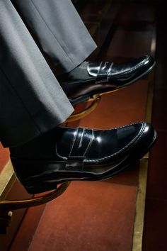 Your grandfather probably didn't wear penny loafers with a suit—they were considered too informal for business settings. But that doesn't mean you're bound by the same conventions. Go ahead and slip a pair on under a slim-cut two-button and rest assured that you're breaking the rules the right way. James penny loafers ($625) by Harrys of London, harrysoflondon.com