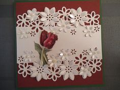 Like the addition of the single flower stem connecting the two die cut piecesLinda Heithold's media content and analytics Pretty Cards, Cute Cards, Diy Cards, Handmade Birthday Cards, Greeting Cards Handmade, Paper Cards, Folded Cards, Crafters Companion Cards, Spellbinders Cards