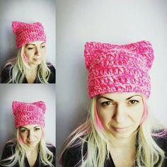 Pink Cat Hat Fuschia Pussy Hat Cat Crochet Hat by StreetStyleKnits