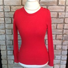 Gap Luxe Sweater Soft bright coral sweater. Fabric is 10% angora rabbit hair which makes this very soft. Has cute buttons on left shoulder. Measures 23 inches long. GAP Sweaters Crew & Scoop Necks