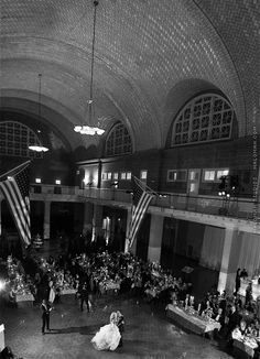Photo by Maloman Studios of an Ellis Island wedding -- the B&W photo is so perfect for this historic venue