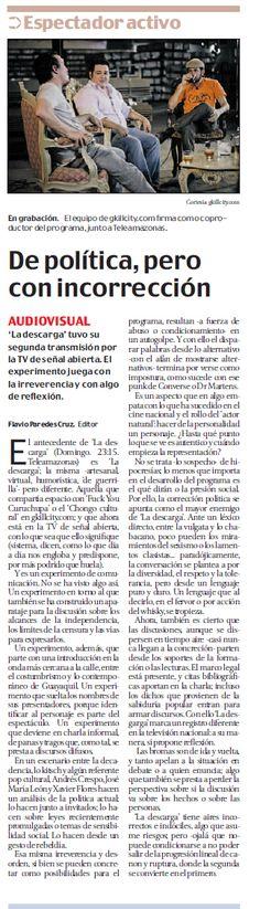 """""""De política, pero con incorrección""""  El Comercio, julio de 2013"""
