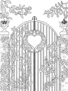 Freebie: Garden Gate Coloring Page
