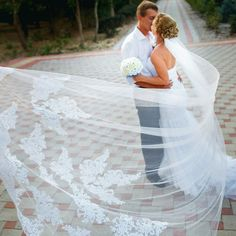 "Veils Layers: One-Layer Length: 118"" Material: Tulle & Lace Cathedral Wedding Veils : Long Lace Edge Bridal Veil with Comb - Processing time vary - Once shipped,can take 12– 20 days - Some exclusions"