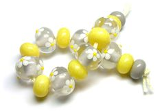 'Grey & Lemon' lampwork glass beads by Laura Sparling