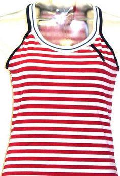 db098d479ca Esprit Women s Retro T-shirt - Esprit Red and White Stripe Racer Back Tunic  Top