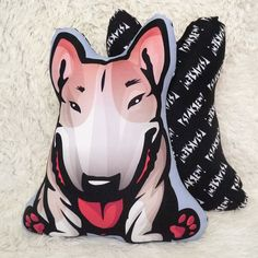 Decorative Dog Pillow Cushion Bull Terrier fawn cuddly by PSIAKREW
