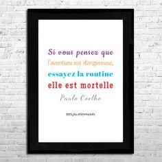 Affiche a4 : citation de paulo coelho (couleur)