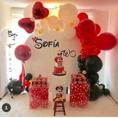 Image may contain: indoor Red Party Decorations, Minnie Mouse Party Decorations, Girl Birthday Decorations, Balloon Decorations, Birthday Party Themes, Minnie Mouse Theme, Mickey Mouse Birthday, Ballon, Toy Story