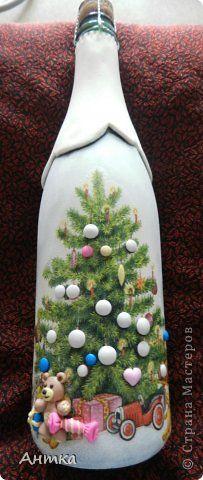 Декор предметов Стенгазета Новый год Декупаж Лепка Рисование и живопись Праздник к нам приходит  Бутылки стеклянные фото 6
