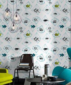 Mind the Gap - Fish Eye - Wallpaper Graphic Wallpaper, Modern Wallpaper, Designer Wallpaper, Amazing Wallpaper, Mind The Gap, Eyes Wallpaper, Pattern Wallpaper, Fish Wallpaper, Eclectic Design
