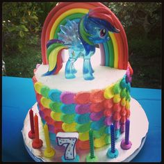 Rainbow Dash Cake I made for my daughter's 7th birthday #mylittlepony #birthdaycake