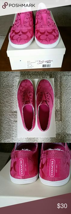 NWT Coach shoes Adorable pink coach sneakers. New in box! Easy on and off. Comfortable shoes. Coach Shoes Sneakers