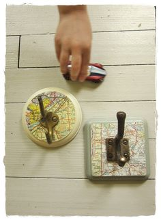 oh, bee: travelling vicariously through home accessories. map hooks by bee vintage redux.