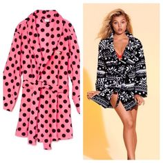 VS Pink Polka Dot Bathrobe Victoria Secret Pink Bathrobe. Bright neon pink with black polka dots. Super soft and fuzzy material!! Got one for my sister but it was not her style. Brand new (it did not come with a tag) and never been worn!!!! Still in its original packaging. Size xs/small. ❤️ No trades/pay pal. PINK Victoria's Secret Intimates & Sleepwear Robes