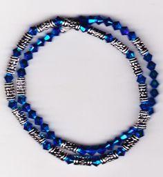 Two Cyprus Blue Swarovski Crystal AB2X Stretch Bracelets