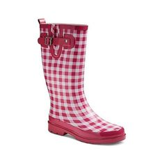 Western Chief Women's Sweet Plaid Rain Boots ($40) ❤ liked on Polyvore featuring shoes, boots, pink, plaid boots, pink rain boots, plaid shoes, wellies boots and tartan shoes