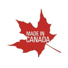 Made in Canada.  Red maple leaf emblem.