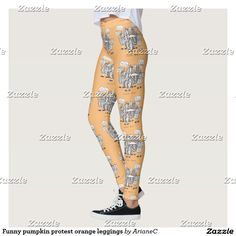 Make excercise fun with these #funny pumpkin protest #orange #leggings . Designed by ArianeC from iCraftCafé :)